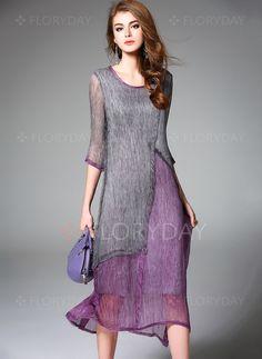 Bröllopsklänningar - $89.99 - Silke Blockfärger 3/4-lång ärm Midi Casual Bröllopsklänningar (1955104797)