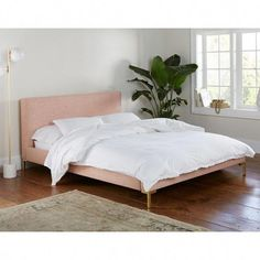 Queen Camila Platform Modern Channel Seam Bed with Metal Legs White Velvet - Cloth & Company Wood Platform Bed, Queen Platform Bed, Upholstered Platform Bed, California King, Smart Bed, Headboard And Footboard, Panel Bed, Modern Rustic Interiors, Blue Interiors
