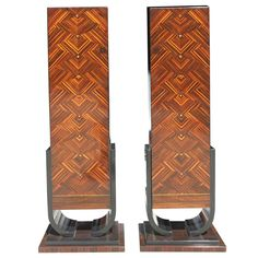 Pair of French Art Deco Exotic Macassar Ebony Pedestals, M-O-P Accents, 1940s | From a unique collection of antique and modern more antique and vintage finds at https://www.1stdibs.com/furniture/more-furniture-collectibles/more-antique-vintage-finds/