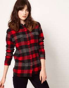 Penfield | Penfield Flannel Check Slim Fit Boyfriend Shirt at ASOS