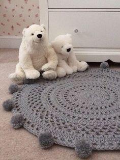 Excited to share the latest addition to my #etsy shop: Pom Pom Rug, Gray Rug, Nursery Rug, Circle Rug, Nursery Decor, Crochet Rug, Round Rug, Bedroom Rug, Ready to Ship