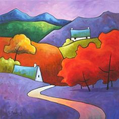 Autumn Glory by Gillian Mowbray Watercolor Landscape, Watercolour Painting, Silk Painting, Painting & Drawing, Painting For Kids, House Painting, Landscape Quilts, Landscape Art, Naive Art