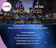 #NocheDeLasLibrerías  Vení a recorrer la tienda Cúspide de Corrientes 1316 C.A.B.A. y encontrá nuevas lecturas.