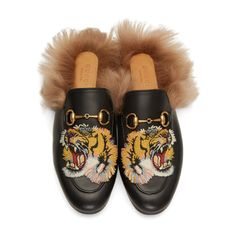 Gucci - Black Tiger Princetown Slip-On Loafers