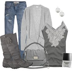 """Gray style"" by daisy-weber on Polyvore"
