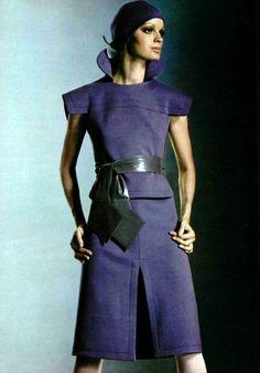 Pierre Cardin 60s space age vintage fashion style designer couture suit dress shirt skirt wool belted high color dark blue model magazine unique unusual