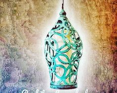 Items similar to Handmade Pendant Light on Etsy Beaded Chandelier, Chandeliers, Balinese, Turquoise Beads, Wooden Beads, Colours, Metal, Unique Jewelry, Handmade Gifts