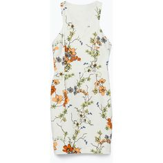 Zara Printed Dress (£20) ❤ liked on Polyvore featuring dresses, zara, floral, perrie dress, vestido, flower print dress, floral print dress, flower pattern dress, floral pattern dress and white floral print dress