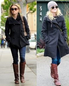 Brown Boots With Black Jacket - JacketIn