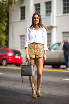 snakeskin print shorts and leopard print flats with button down shirt
