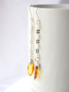 Mexican amber earrings, square chain