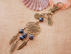 Dream catcher keychain o keyring personalized blue by Estibela