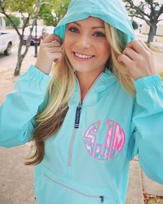 Aqua Preppy Charles River Pack N Go Pullover Wind Jacket with Lilly Pulitzer Monogram by TantrumEmbroidery on Etsy
