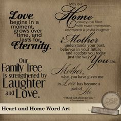 Heart And Home Word Art