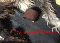 Leather bracelet with Viking Runes:I raid with von Elbengard