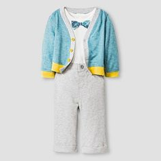 Baby Boys' Sweater, Bodysuit and Pant Baby Cat & Jack™ - Sea/Grey : Target