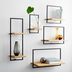 Wood And Metal Shelves, Reclaimed Wood Floating Shelves, Oak Shelves, Floating Shelves Diy, Wood Wall Shelf, Wall Shelves Design, Shelves For Wall, Wall Shelving, West Elm Shelves