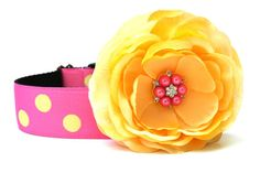Dog Collar Flower AddOn Yellow and Pink Flower by Wagologie