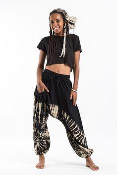d7f58670817 Tie Dye Cotton Women Harem Pants in Black
