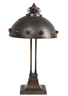 Lamp with glass appliqués