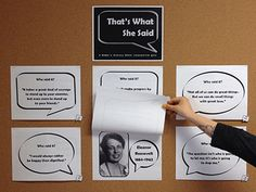 That's what she said quote display, hand lifting top sheet - Women's History Month