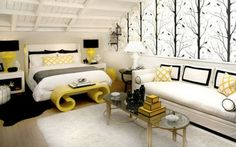 And black interiors modern yellow black white bedroom decor