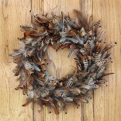 "Pheasant Feather Wreath - Natural - 15"""