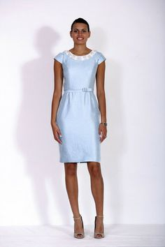 Juniper Plain Shimmer Blue Dress by Aideen Bodkin