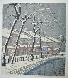 Asano Takeji,  Snow in Kiyamachi, 1955