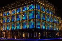 Center of Art and Media Karlsruhe - A wonderful view at night with the changing colors and the blue tabs behind the windows. Definitely worth a view. As it is just right next to the cine palace, it's a great opportunity to see in the night lights. City Architecture, Palace, Night Lights, Opportunity, Buildings, Travel, Windows, Colors, Amazing