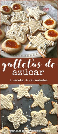 Galletas navideñas de azúcar, con una receta base puedes tener 4 variedades fáciles para quienes no tienen paciencia para decoraciones intrincadas #cookies #baking #christmas