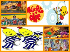 Remember these, girls?  This is your toddler-life!  :D  Out of the Box, Big Comfy Couch, Rolie Polie Olie, Bananas in Pajamas, Bear in the Big Blue House, and PB&J Otter