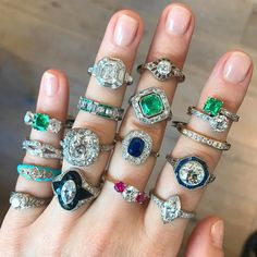 New vintage engagement ring arrivals. Aqua turquoise, vintage Tiffany & Co., and lively emeralds! Emerald Ring Vintage, Wedding Rings Vintage, Vintage Engagement Rings, Vintage Rings, Wedding Jewelry, Oval Engagement, Gold Wedding, Antique Rings, Antique Jewelry
