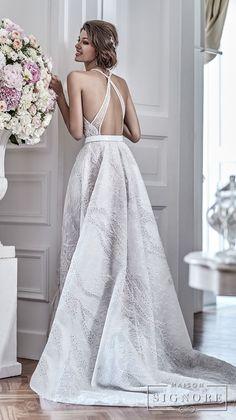 maison signore 2018 bridal sleeveless halter jewel neck full embellishment elegant a line wedding dress with pocket cross strap back chapel train (demy) bv -- Maison Signore's Stunning 2018 Wedding Dresses