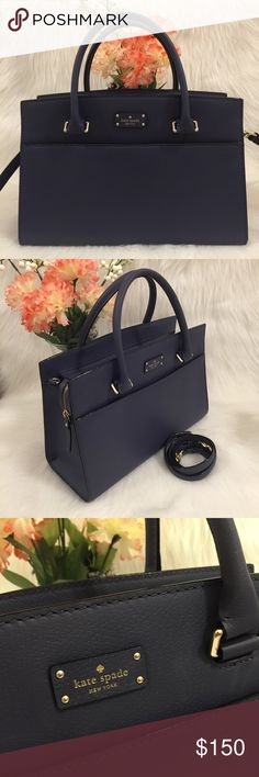 "❣️NWOT Kate Spade Grove Street Caley Large NWOT. Never used. No signs of wear.  Material: Cow leather Handles with 5"" drop Longer strap with 18"" to 22"" drop Measurements: 9 1/4"" (H) x 13"" (L) x 5"" (D)  Color: Diver Blue  No trades. kate spade Bags Satchels"