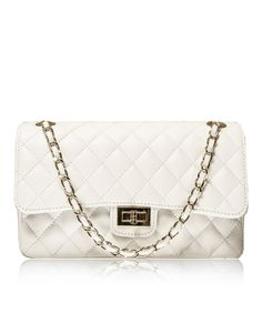 Stretto Medium White Chanel Style Italian Quilted Leather Handbag From Florence Collection Handbags
