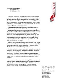 Carta intestata con testo simulato FaService