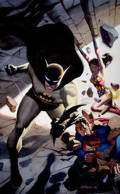 Steve Rude - Superman, Batman and Wonder Woman watercolor