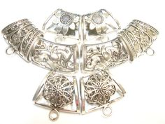 Fashion Scarf Jewelry Metal Mix Silver Floral by coreringscarf, $14.49