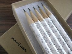 Wintery pencils wrapped in pretty Japanese paper for writing heartfelt messages.