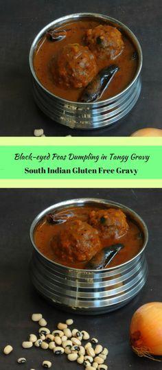 Steamed Black-eyed Peas Dumpling in Tangy Gravy/Kaaramani Urundai Kuzhambu