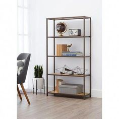 Organize your home with this decorative Bamboo Shelving Rack. Sturdy with a functional design, this Bronze anthracite shelving rack blends perfectly with a variety of decorating styles. The shelves Steel Shelving, Shelving Racks, Pipe Shelves, Book Shelves, Free Standing Shelves, Bamboo Shelf, Shelves In Bedroom, Decorative Storage, Organizing Your Home