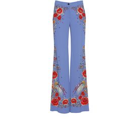 Roberto Cavalli Floral Stretch Cady Trousers (15.290.255 IDR) ❤ liked on Polyvore featuring pants, blue stretch pants, floral trousers, blue floral pants, roberto cavalli and embroidered pants