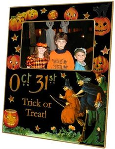 Darling Halloween Picture Frame- It can even be personalized for your little trick or treaters. Great hostess gift for Halloween Party. $48.00 -A great addition to your halloween decorations or the perfect hostess gift for a halloween party. Handmade in USA by Marye-Kelley