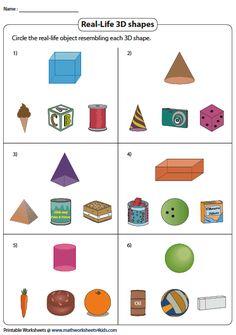 Circling Real-life Objects Resembling 3D Shapes Summer Preschool Themes, Preschool Learning Activities, Preschool Worksheets, Toddler Activities, 3d Geometric Shapes, 2d And 3d Shapes, Solid Shapes, 3d Shapes Worksheets, Geometry Worksheets