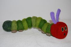 needle felted hungry caterpiller