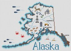 Alaska Map: A Cross Stitch Chart by Sue Hillis Designs Cross Stitch Fabric, Cross Stitch Charts, Cross Stitch Designs, Cross Stitching, Cross Stitch Embroidery, Cross Stitch Patterns, Map Projects, Crochet Stitches Patterns, Hand Embroidery Designs