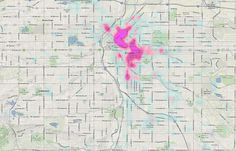 Uber and Lyft heat maps show hotspots of urban life. Here's Denver evening requests. Heat Map, Urban Life, Uber, Denver, Mornings, Maps, Blue Prints, Acre, Map