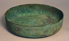 LARGE ROMAN BRONZE PATERA, c. 1st-3rd cent. The heavy vessel with classic Pompeian style ribbed base. Intact with encrustation. Small hole o...