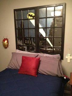 Diy batman head board painting :: AHHHHHHHH, ILOVETHIIIIIIIIIIIISSSS!!!! :D